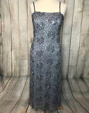 Stunning Silver Beaded PHASE EIGHT Gown Dress Size 12 VGC