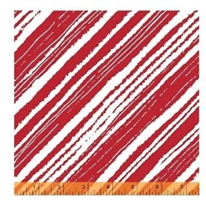 Christmas Fabric - Make Merry Red & White Bias Diagonal Stripe - Windham YARD