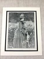 Antique Print Victorian Girl Lady Dog Walking Woodland 19th Century Original