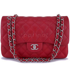 11C Chanel Red Caviar Classic Jumbo Double Flap Bag SHW 63332