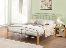 Tetras 120cm 4FT Small Double Beech & Silver metal wood Bed Frame Bedstead