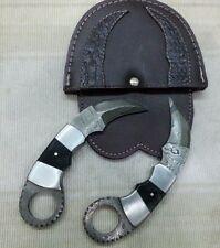 Customized Handmade Damascus Mini Karambit knife pair with leather sheath