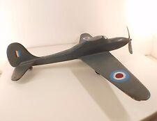Avion de chasse britannique ancien en bois 60 cm Magnifique
