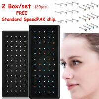 120pcs Crystal Rhinestone Nose Ring Bone Stud Stainless Steel Body Piercing Gift