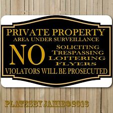 "Private Property No Soliciting Trespassing Loitering 12"" x8"" Aluminum Metal Sign"