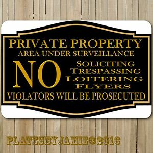 """Private Property No Soliciting Trespassing Loitering 12"""" x8"""" Aluminum Metal Sign"""