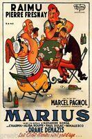 MARIUS RAIMU FRENCH FILM MEN PLAYING CARDS GAME MOVIE VINTAGE POSTER REPRO