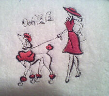 OOOH LALA PARIS FANCY THAT SET OF 2 BATH HAND TOWELS EMBROIDERED