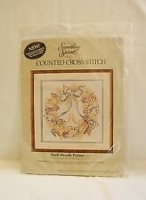 1986 Candamar Designs Counted Cross Stitch SHELL WREATH PICTURE Kit~NEW in Pkg.