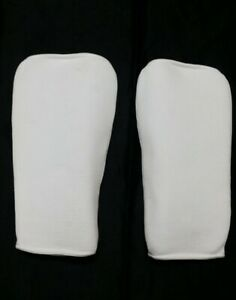 Cloth White Shin Pads for MMA karate Martial Arts Protective Guards | X-Large