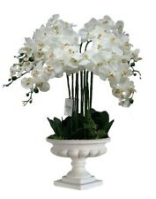 X LARGE Artificial Orchid Silk Flower Arrangement white stone vase urn