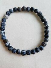 Black frosted Agate & Hematite cube Bead Bracelet 6mm Handmade