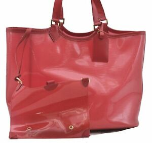 Auth Louis Vuitton Epi Plage Lagoon Bay GM Tote Bag Clear Red M92150 LV D5275