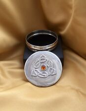 Pewter Trinket Box with Celtic Knot and Amber Stone (large)