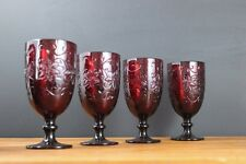 PRINCESS HOUSE FANTASIA RUBY RED ICED BEVERAGE GLASSES  SET OF 4