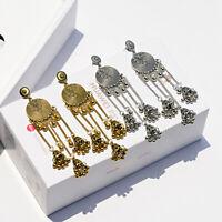 Vintage Gold Silver Bells Drop Dangle Gypsy India Wedding Jhumka Ethnic Earrings