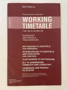 1993 British Railways Eastern Working Timetable Section CJ Nottingham