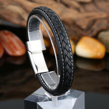 Mens Fashion Black Leather Braided Wristband Bracelet Stainless Steel Surfer New