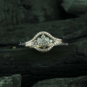 14k Gold Double Chevron Floral Ring For Wedding Engagement Layering Diamond Ring