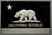 1974 OFFICIAL US FLAGS CALIFORNIA STERLING SILVER BAR INGOT FRANKLIN MINT (DR)
