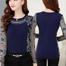Women Fashion Slim Patchwork Casual Blouses Shirt Long Sleeve Lace Tops Blouse L XXL