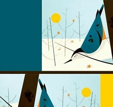 CHARLEY HARPER ~ Premium Organic Cotton ~ Birch ~ Nuthatch Birds ~Fabric~1/2 yd