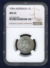 AUSTRALIA  1956  SHILLING SILVER COIN, CHOICE UNCIRCULATED, CERTIFIED NGC MS-63