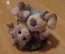 Calico Kitten Enesco Cat & Soccer Ball Figurine Friends Are A Goal Worth Saving
