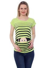 Umstandsmode Schwangerschaft Mutterschafts T-Shirt mit Süßen Motiv Giftgrün bvk1