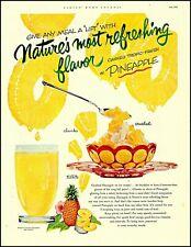 1953 Canned tropic Pineapple ice cream sundae juice vintage art Print Ad adL65