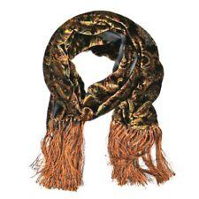 New ITALO FERRETTI Orange Black Paisley Crushed Velvet Fringe Rectangle Fashion