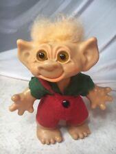 """Vintage 9"""" Dam Troll Doll Euro Thomas Boy w/ red green felt suit - 1961 Denmark"""