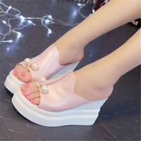 Sandals Pearls Slippers Wedge Open Toe Platform Boho Beach Shoes Women High Hee