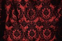 TAFFETA DAMASK VELVET FLOCKED BURGUNDY DRESS HOME DECOR APPAREL CURTAINS BY YARD