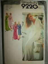 Wrap Robe Tie Belt Simplicity 9220 Sewing Pattern Size 6 8 Cut Long Ladies VTG