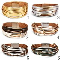 Multi-layer Punk Leather Wrap Bracelet Charm Bangle Party Fashion Jewelry Gift