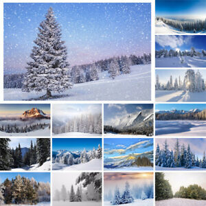 Winter Snow View Forest Backdrop Cloth Photography Background Christmas Tree