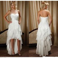 Hi Low Beach Boho Wedding Dress Cheap under $100 Formal Bridal Gown Lace up Back