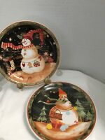 2 Decorative Christmas Holiday Snowman 8 1/4 Inch Plates Starry Night
