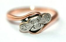 Art Deco 9 ct rose gold & platinum diamond engagement style crossover size J ½