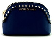 Michael Kors Jet Set Make Up Bag Case Travel Pouch Sapphire Blue Small Leather