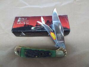 "Steel Warrior SW-104DGB Dark Green Bone 3 1/2"" 2-blade pocket knife"