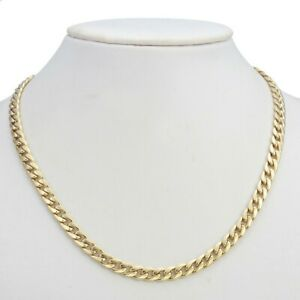 18K Yellow Gold GL Med Curb Solid Men's/Women's Unisex Necklace with Clasp 55cm