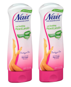 2 Bottles! Nair Hair Remover Lotion For Legs Body Aloe Lanolin 9 oz Refresh Sce