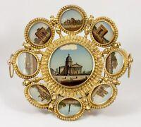 Antique French Paris Grand Tour Souvenir Tray, 9 Eglomise Monument Views c. 1880