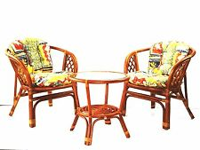 Dining Furniture Set Bahama 2 Chairs w/ Cushion Round Table Rattan, Cognac