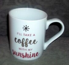 "MUSE ""I'll Take a Coffee with my Sunshine"" Red Gold Mug Cup 16 oz."