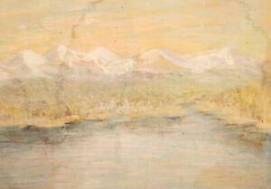 Antique gouache painting impressionist river landscape