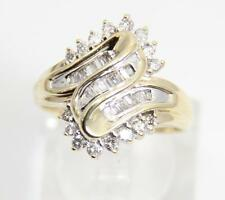 Estate 10K Yellow Gold Diamond Cluster Cocktail Ring 0.60 CTTW - Size 7.5