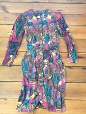 Vtg 80s Rayon Colorful Jeweltone Floral Secretary Geek Fitted Button Dress USA S